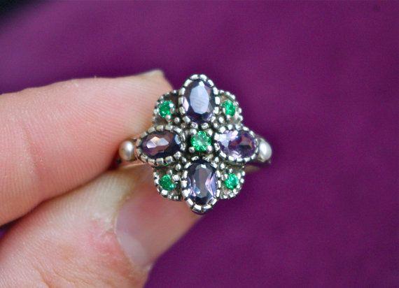 Art Deco Purple Alexandrite, Emerald & Seed Pearl Flower Design - 925 Sterling Silver - so pretty