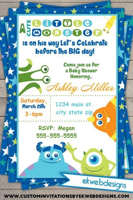 Monster Inc. Baby Shower Invitations  Monster University Invitations