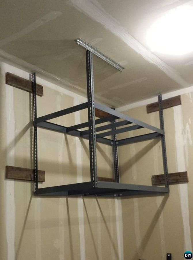 Diy Hanging Storage Shelf Garage Organization And Storage Diy Ideas