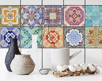 Lisbon tile stickers pack of 24 portuguese removable ornamental