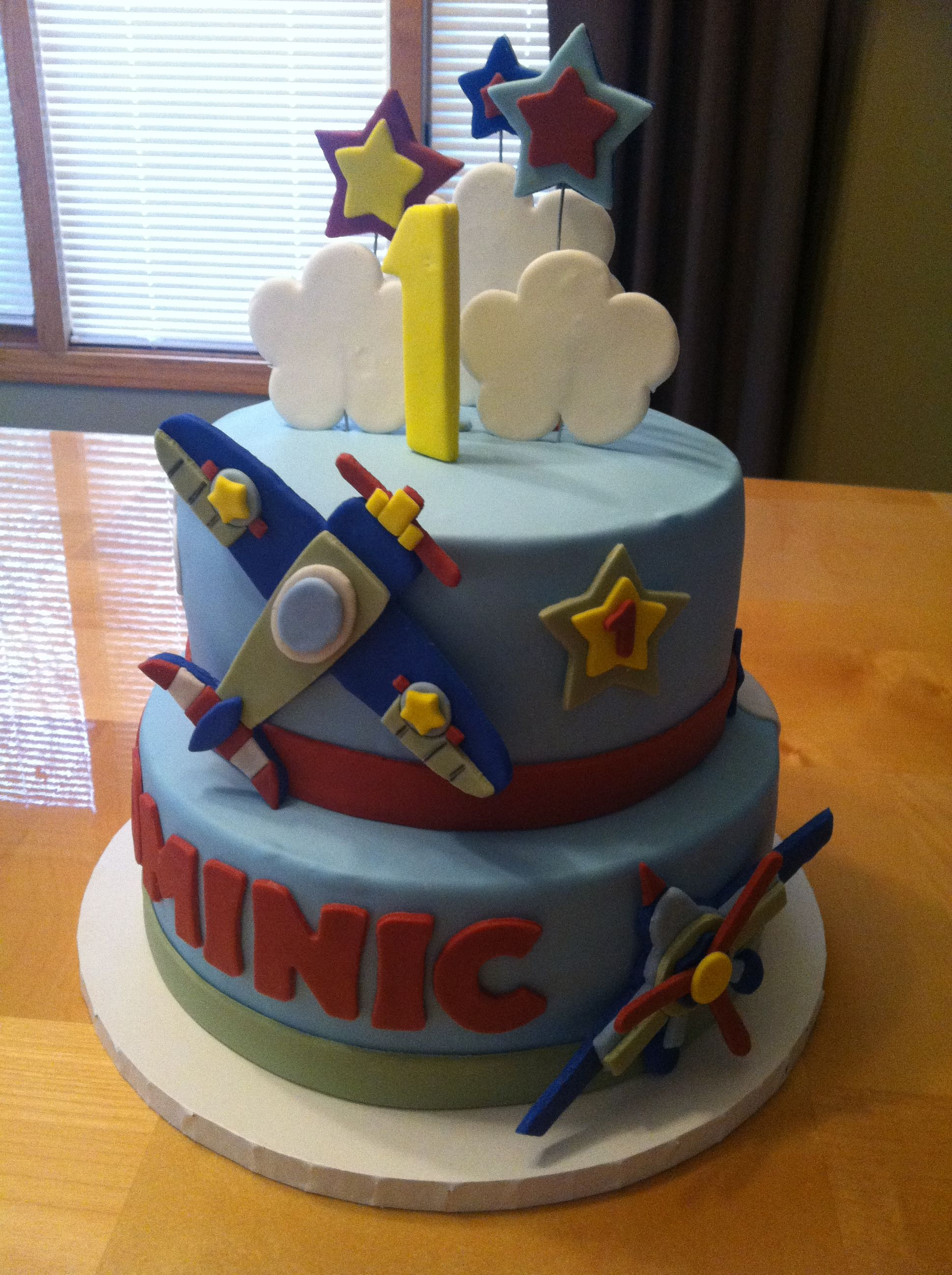Airplane Birthday Cake Shiros 1st bday ideas Pinterest