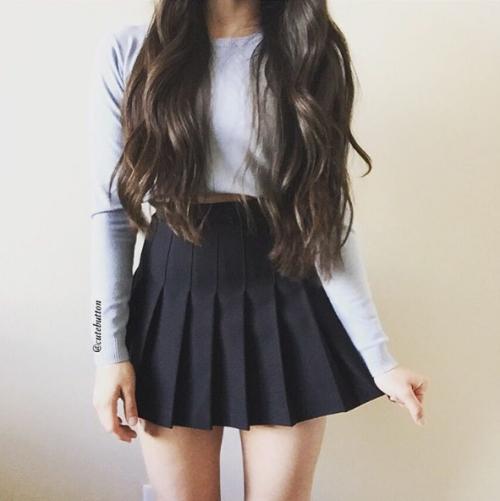 Jacquard Wool Solid Color Pleated Mini Skirt Black Fashion Tumblr Outfits Skirt Fashion