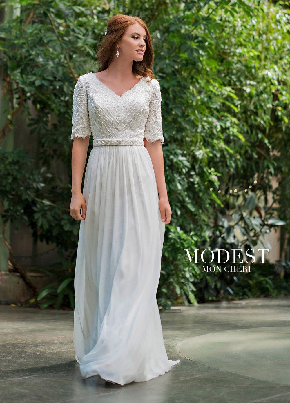 Modest Bridal by Mon Cheri TR11836 VNeck Wedding Dress