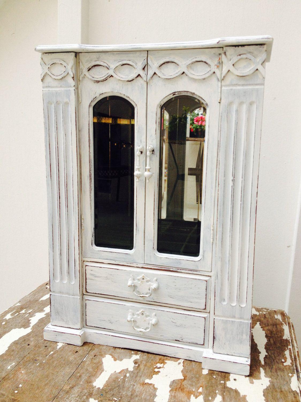 Extra Large Shabby Chic Vintage Jewelry Box Antique Cottage White