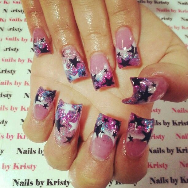 Nails Nailsbykristy Pureplatinumsalonandspa Thick Curved Acrylic C Cut Airbrush Glitter Starts