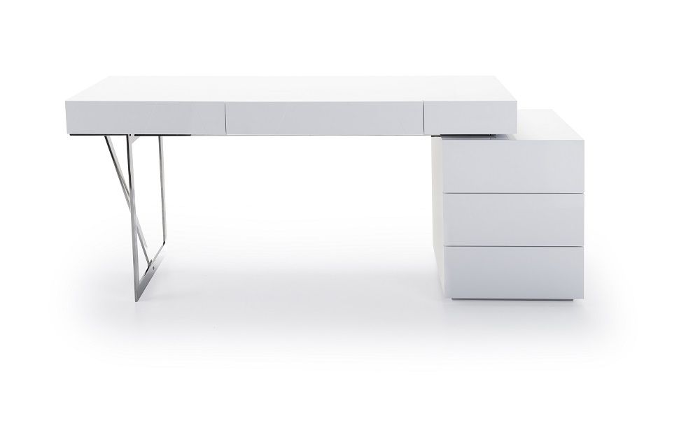 White Contemporary Office Desk With Storage The Features A Clean Ultra Modern Design
