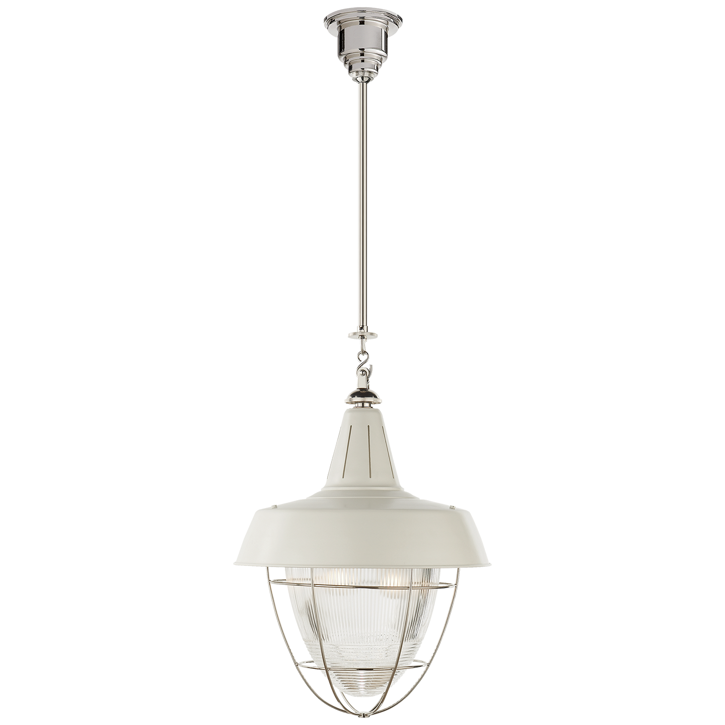 Henry Industrial Hanging Light In Polished Nickel And White Shade