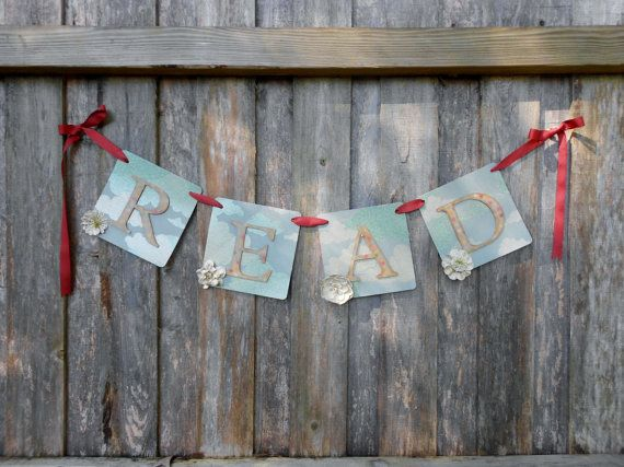 Whimsical READ Banner. $12.95, via Etsy.