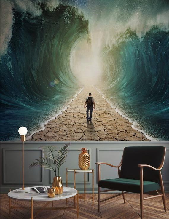 Wave Wallpaper Sea Road Wall Mural Abstract Way Wall Print