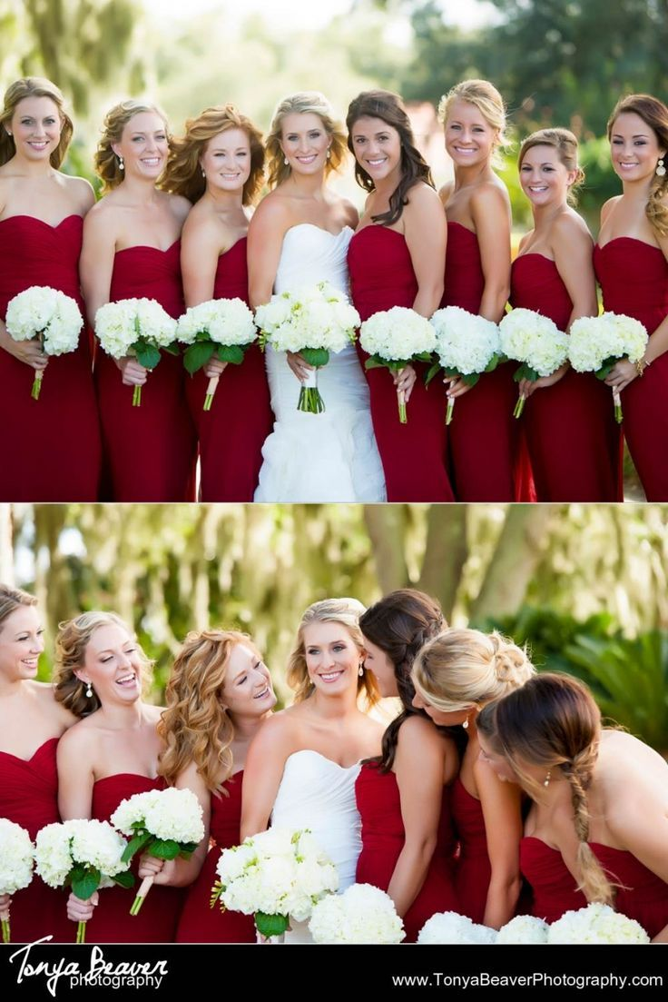 Red bridesmaid dresses with white hydragenas as bridesmaidus