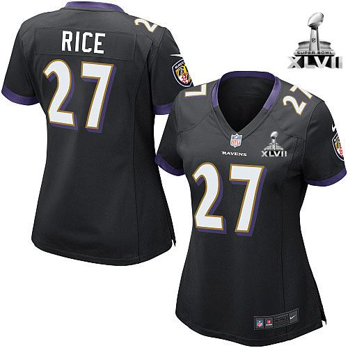 NFL NIKE Baltimore Ravens #27 Ray Rice Black Alternate With Super Bowl  Patch Womens Game
