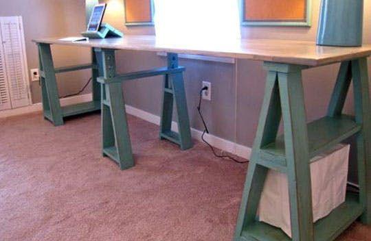 Diy Sawhorse Desks Inspired By Restoration Hardware Sawhorse Desk Diy Standing Desk Diy Desk