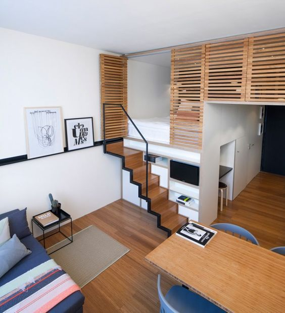 4 Awesome Small Studio Apartments With Lofted Beds Small Apartment Design Tiny House Interior Apartment Design