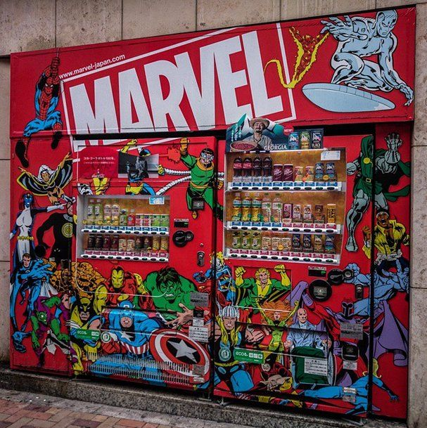 Pin for Later: The World's 25 Coolest and Craziest Vending Machines Comic-Themed Snacks Soda just tastes better when it looks like Iron Man.