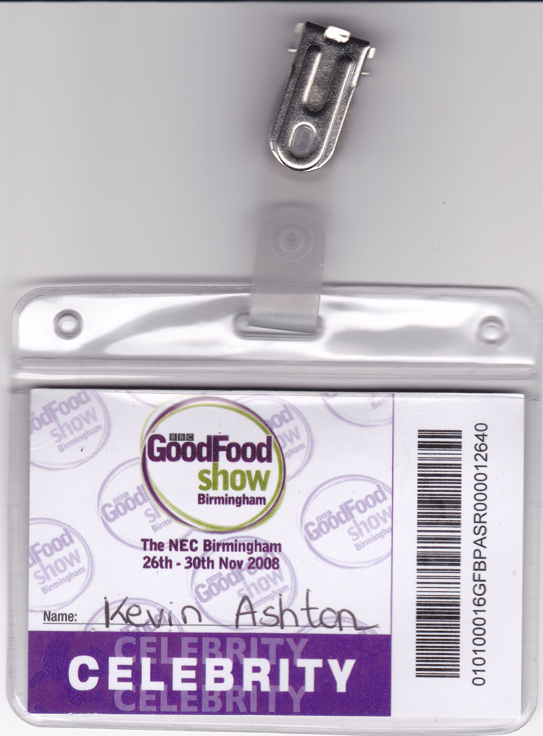 One of my BBC Good Food Badges.  That gets you escorted through the crowds to the VIP area,   #bbc #goodfoodshow #nec #chef #demonstrator