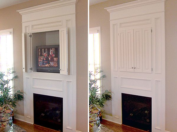 Built In Hide Tv Cottage Fireplace
