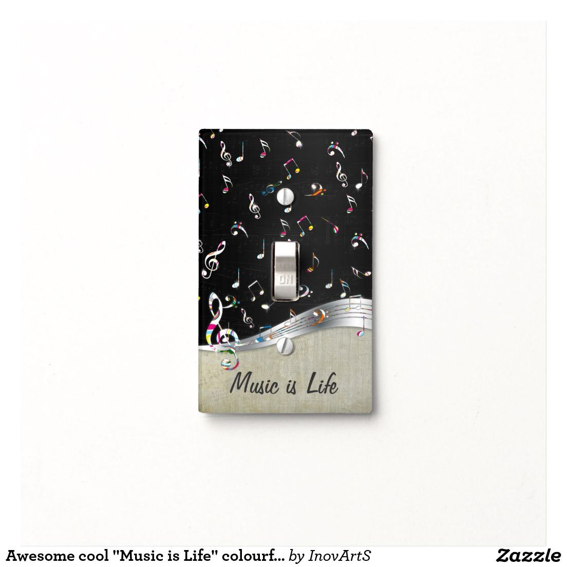 "Awesome cool ""Music is Life"" colourful music notes Light Switch Cover Looks good for my bedroom"