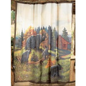 Black Bear Lodge Shower Curtain Rustic Shower Curtains Lodge