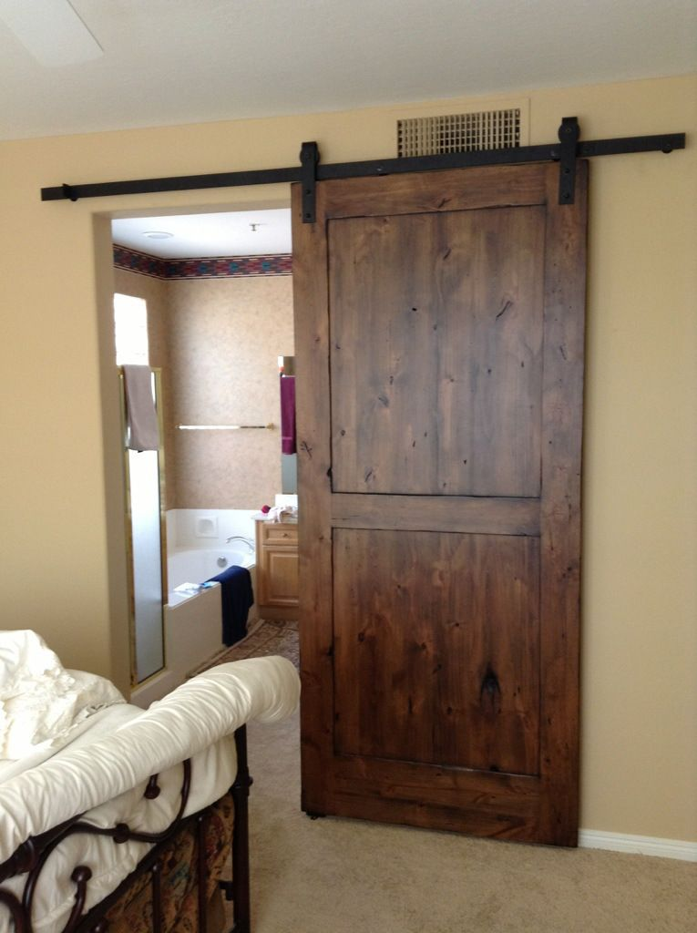Distressed Knotty Alder Sliding Barn Door Longer Track Wider One Panel Accomodates Two Openings