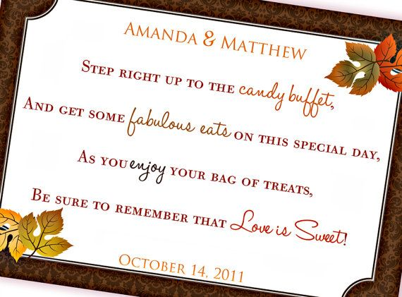 Candy Buffet Sign & Tags printable bridal shower or ...