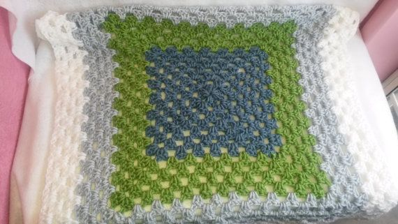 Shades of Blue Crocheted Granny Square Baby by TheCrochetAnything