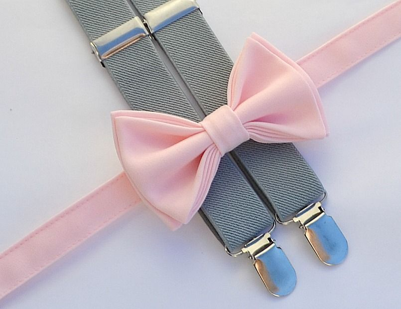 Ring Bearer Outfit -- Light Pink Bow Tie & Grey Suspenders. Shop ...