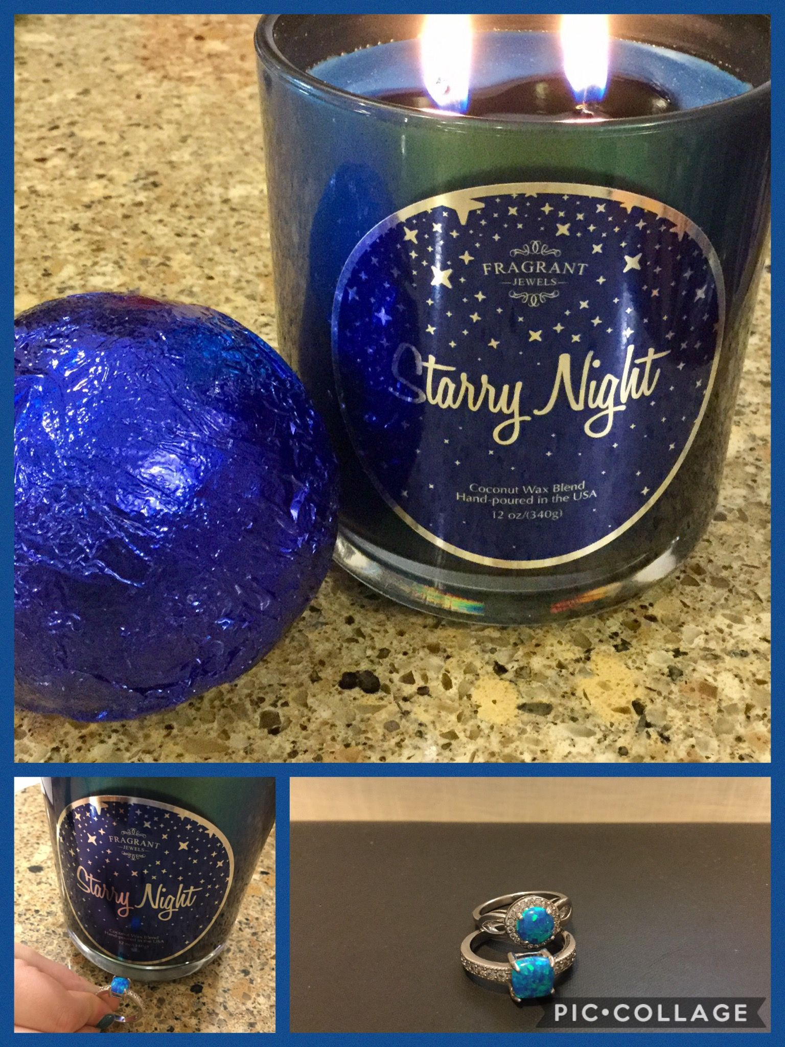 Delightful Starry Night Candle And Bath Bomb Set #fragrantjewels With Blue Opal Rings