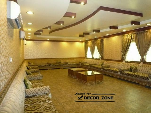 Gypsum False Ceiling Designs With Wooden Paint Decorations For Large Living Room