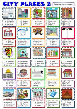 City Places Multiple Choice Activity 2 Learning English For Kids Activities English Places of city worksheet