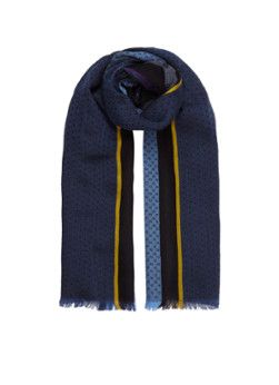 Paul Smith scarf with dots and line motif dark blue 25 x 180 cm
