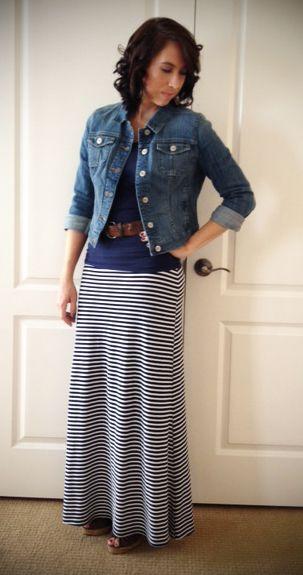 maxi skirts and dresses with denim jackets wiww denim