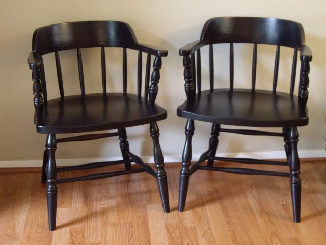 Pair Of Captainu0027s Chairs Painted Black