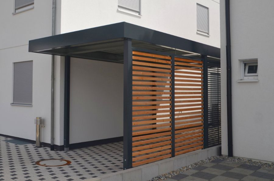 einzelcarport anthrazit holz offen quadratlochung myport carport in 2019 carport. Black Bedroom Furniture Sets. Home Design Ideas