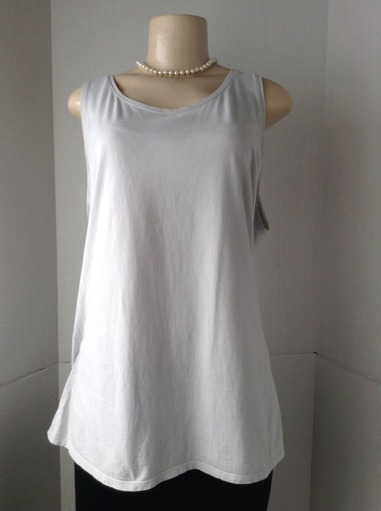 J. Jill Women's XL Soft Jersey Tank Top  Light Gray 100% Pima Cotton GUC #JJill #TankCami #Casual