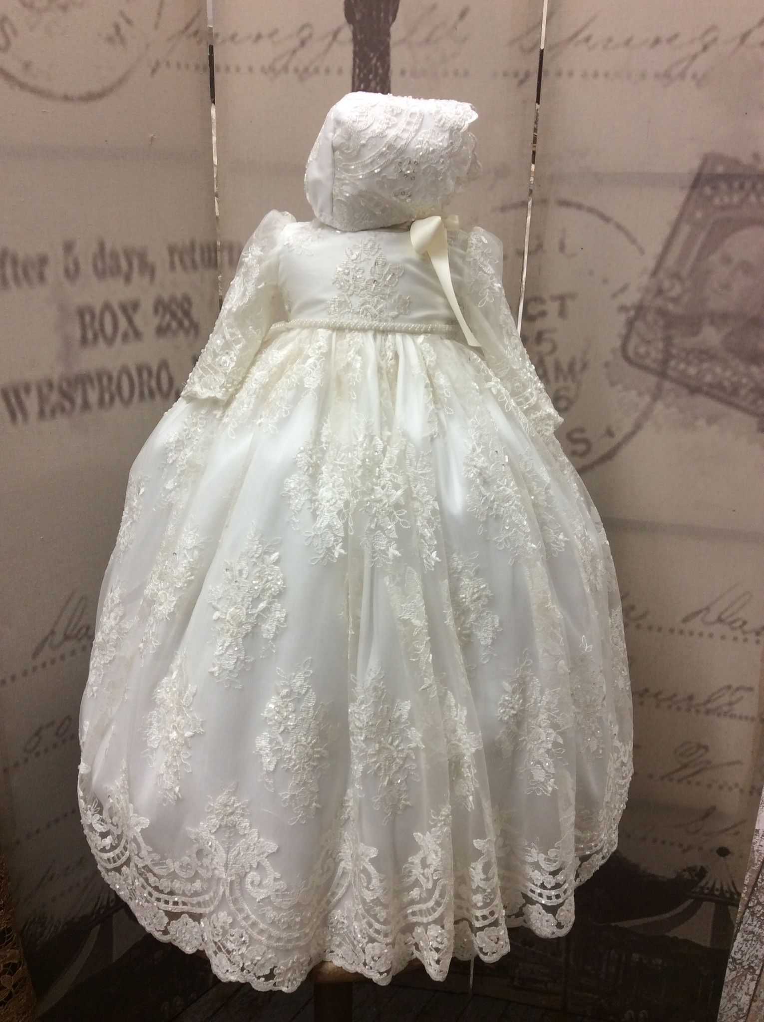 e5b15d439 Christening gown with bonnet-baptism clothes-lace baby dress-Karina