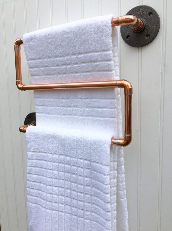 Copper Pipe Towel Rack Industrial Towel Bar Modern Industrial Steampunk Design Modern Decor