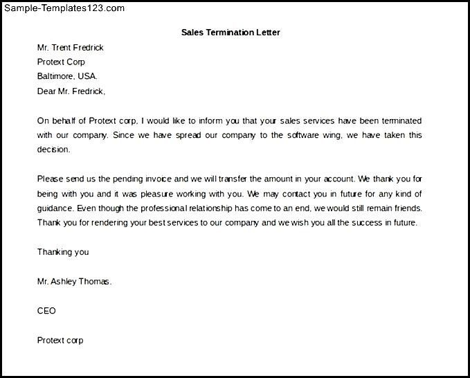 Sales Termination Letter Template Free Word Format Sample