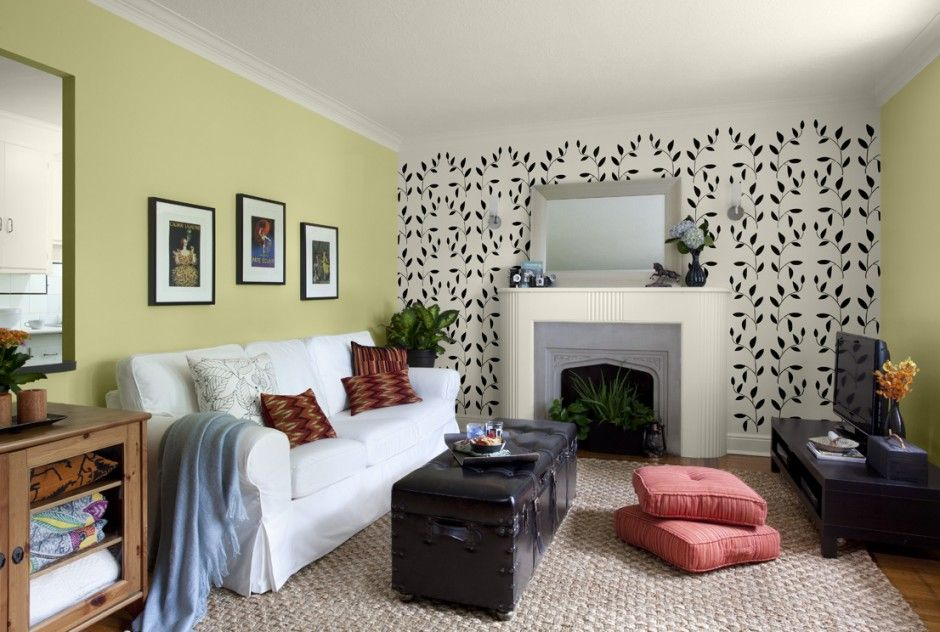 Living Room Decoration Ideas Gorgeous Interior Design For Lime Green Accent Wall Colors White Cotton Sofa Black Leather Storage Ottoman