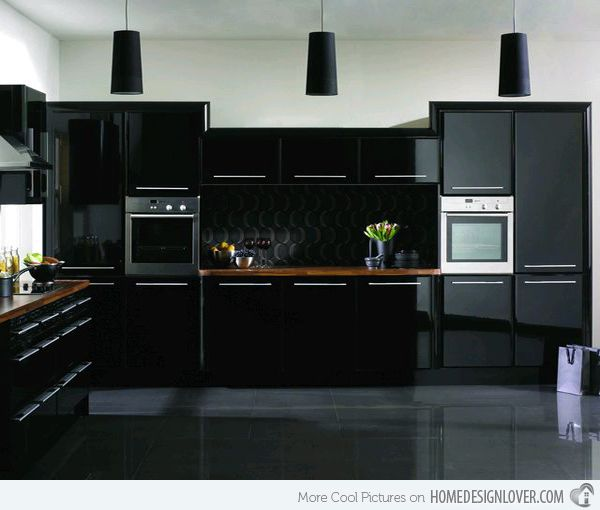 15 Astonishing Black Kitchen Cabinets Home Design Lover Gloss Kitchen Cabinets High Gloss Kitchen Cabinets Modern Black Kitchen