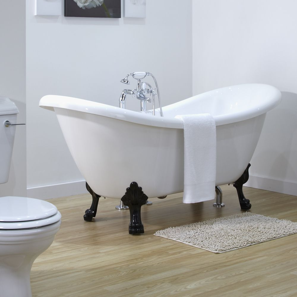 Milano Double Ended Slipper Freestanding Bath 1750 x 720mm With ...