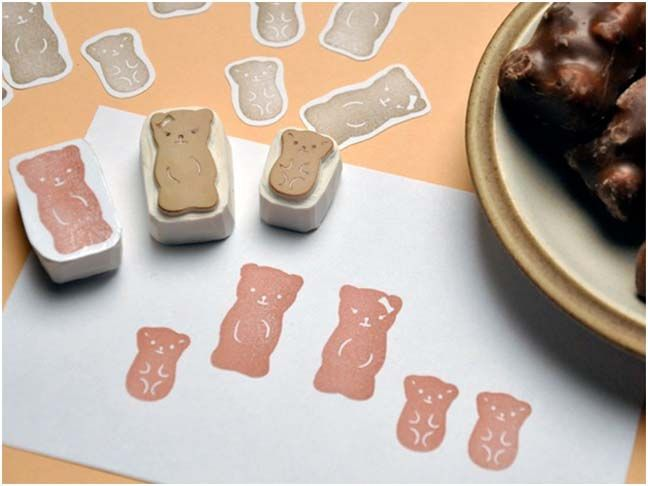cute handmade bear stamps