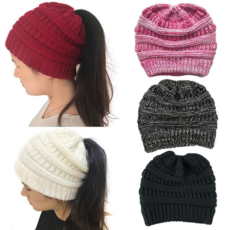 Unisex Thick Fluffy Sleeve Cap Knitted Hat Multicolor Stripe Rainbow Hat Man Womens Warm Winter Hats
