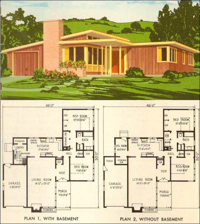 contemporary house plans mid century   House Plans   Pinterest ...