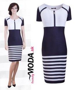 f5ae431136c9 Modro-biele pruhované letné dámske šaty s krátkym rukávom - trendymoda.sk  Bodycon Dress