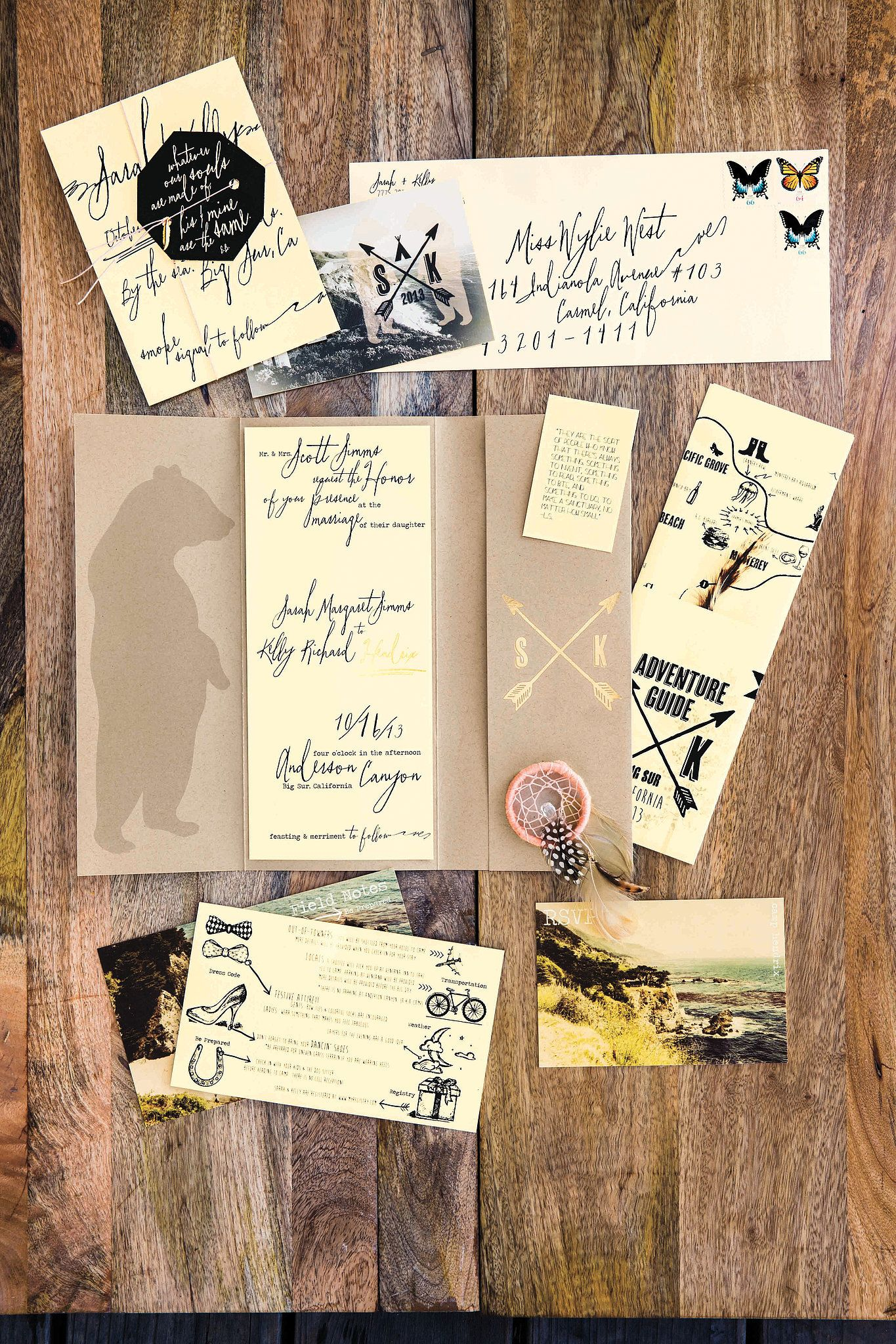 Vintage Postcard Inspired Invites And A Hand Drawn Map Photo By Erin Kunkel