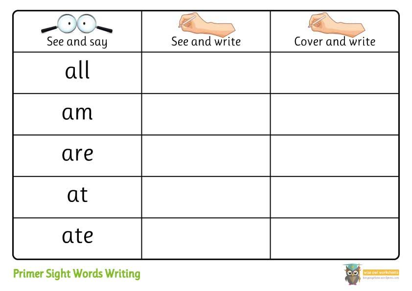 Primer Dolch Sight Words Activity Pack  Writing Worksheets