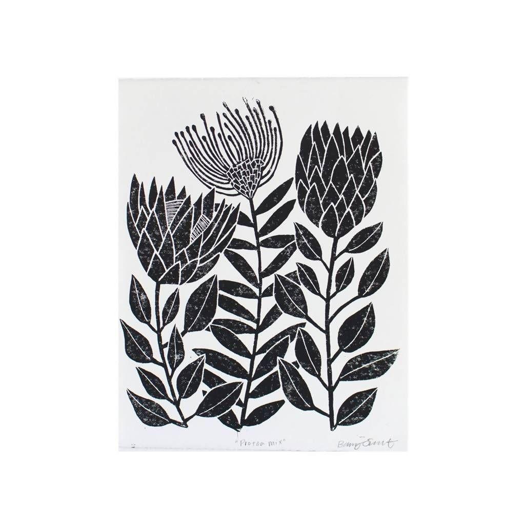 Protea Mix Lino Print Lino Print Screen Printing Protea Art