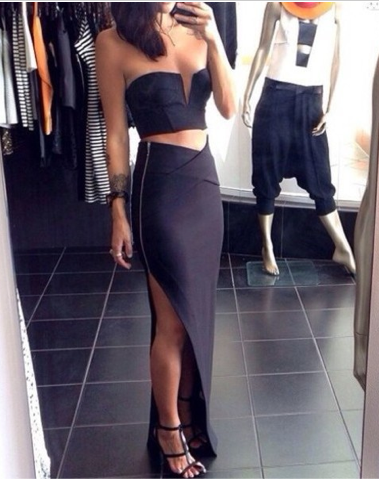 Two Piece Cropped Bodycon Maxi Slit Skirt Set | Event Dresses ...