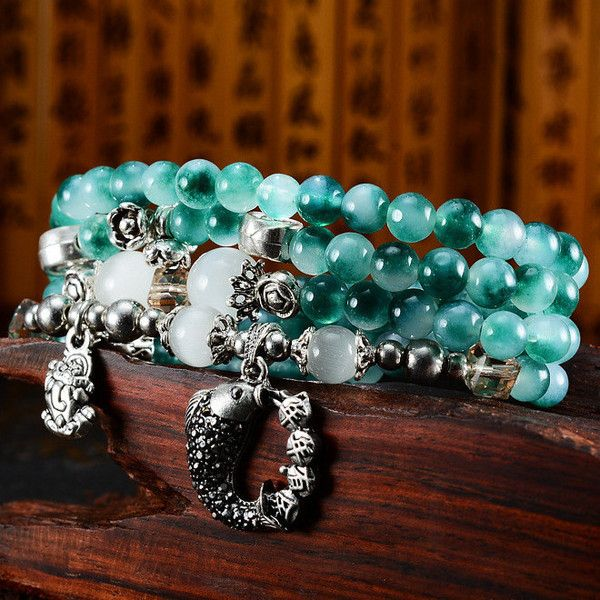 Aquamarine Reiki Healing Multilayer Bracelet