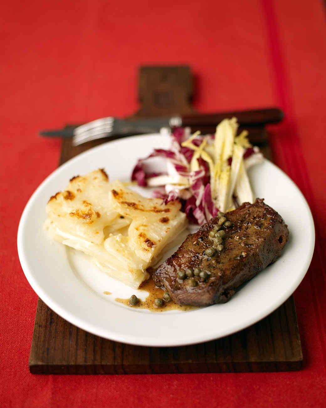 Steak With Wine Sauce And Potato Gratin Recipe Night Dinner Recipes Date Night Recipes Dinner